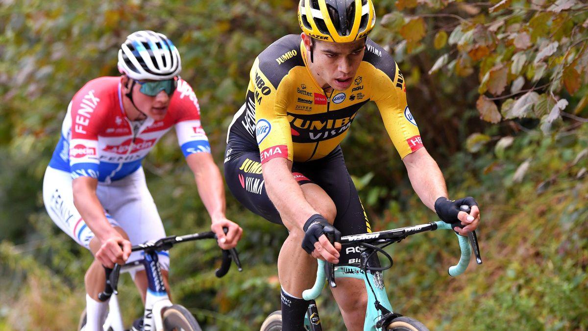 Wout Van Aert of Belgium and Team Team Jumbo - Visma / Mathieu Van Der Poel of The Netherlands and Team Alpecin-Fenix / during the 104th Tour of Flanders 2020 - Ronde van Vlaanderen - Men Elite a 243,3km race