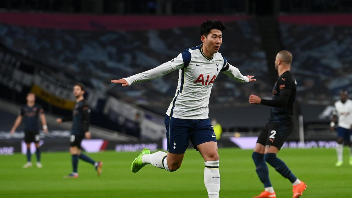 Heung-Min Son of Tottenham Hotspur celebrates after scoring his team's first goal during the Premier League match between Tottenham Hotspur and Manchester City at Tottenham Hotspur Stadium