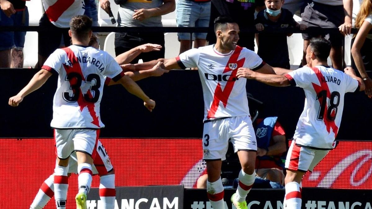Radamel Falcao célèbre son but lors de Rayo Vallecano - Getafe (3-0) lors de la 5e journée de Liga