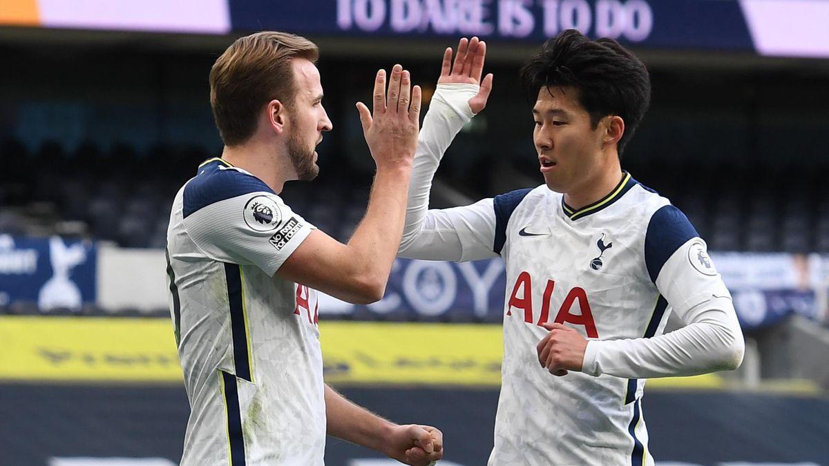 Die Matchwinner für Tottenham gegen Leeds: Son Heung-Min (rechts) und Harry Kane