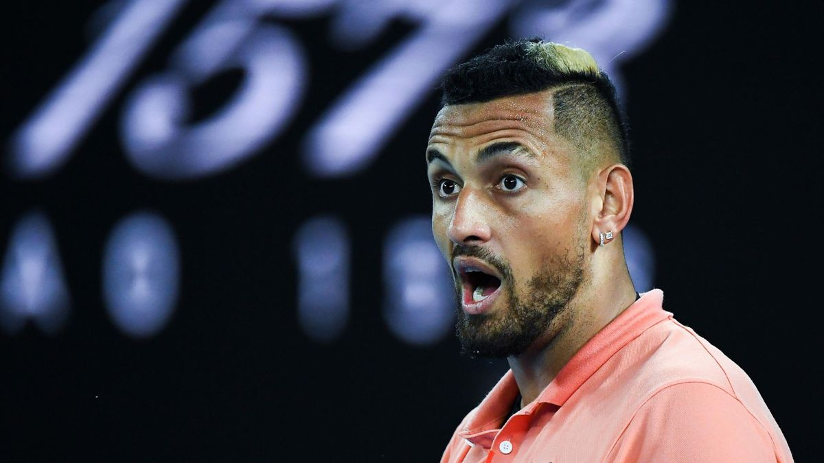 Australia's Nick Kyrgios reacts after a point against Spain's Rafael Nadal during their men's singles match on day eight of the Australian Open tennis tournament in Melbourne