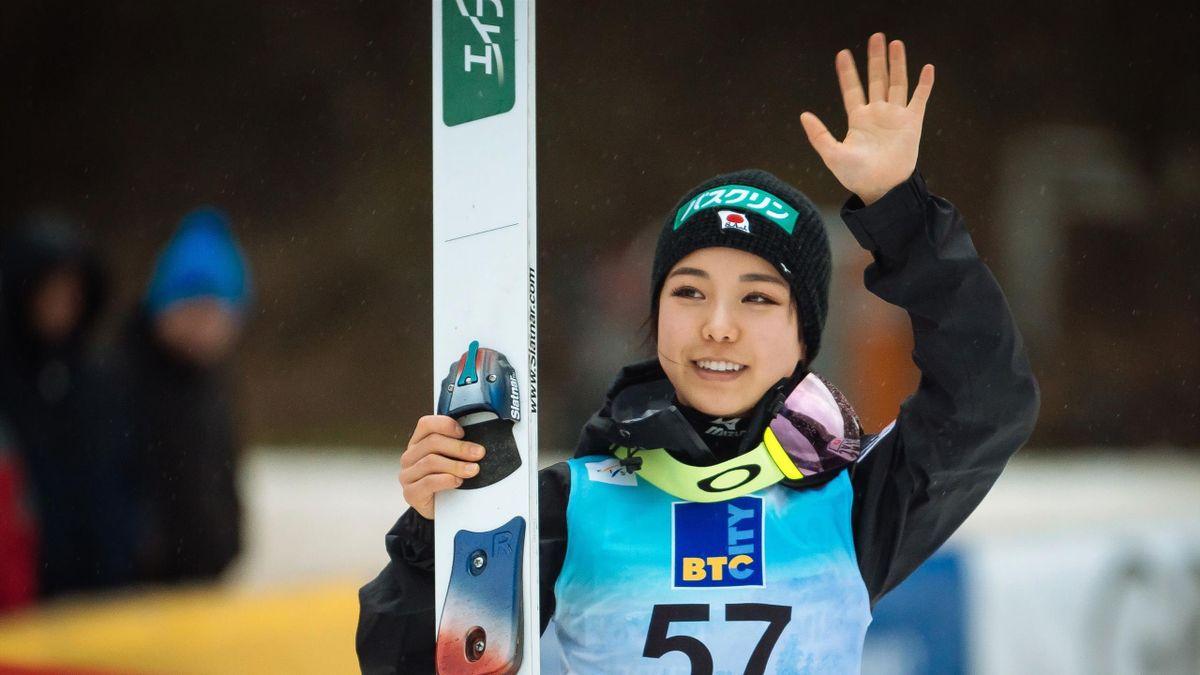 Japan's ski jumper Sara Takanashi celebrates after winning the FIS Ladies Ski Jumping World Cup Normal Hill Individual in Ljubno, Slovenia on February 10, 2019.