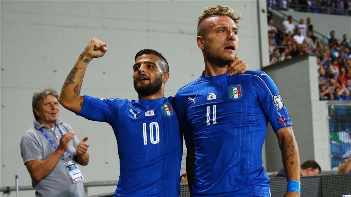 Ciro Immobile e Lorenzo Insigne esultano per un gol in Italia-Israele - Qualificazioni Mondiali 2018 - Getty Images