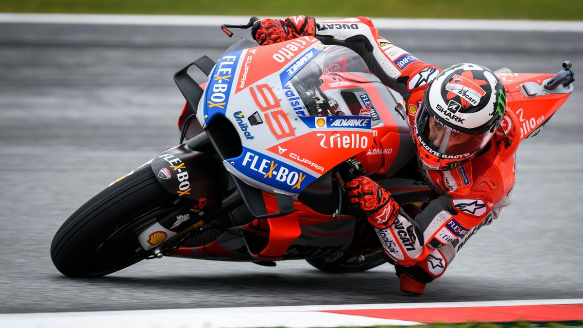Ducati Team's Spanish rider Jorge Lorenzo rides during the third practice session of the Austrian MotoGP Grand Prix at the Red Bull Ring in Spielberg, Austria on August 11, 2018