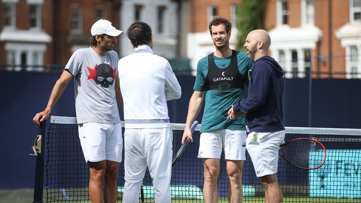 Andy Murray of Great Britain and Feliciano Lopez of Spain during a practice session prior to the Fever-Tree Championships at Queens Club on June 14, 2019 in London, United Kingdom.