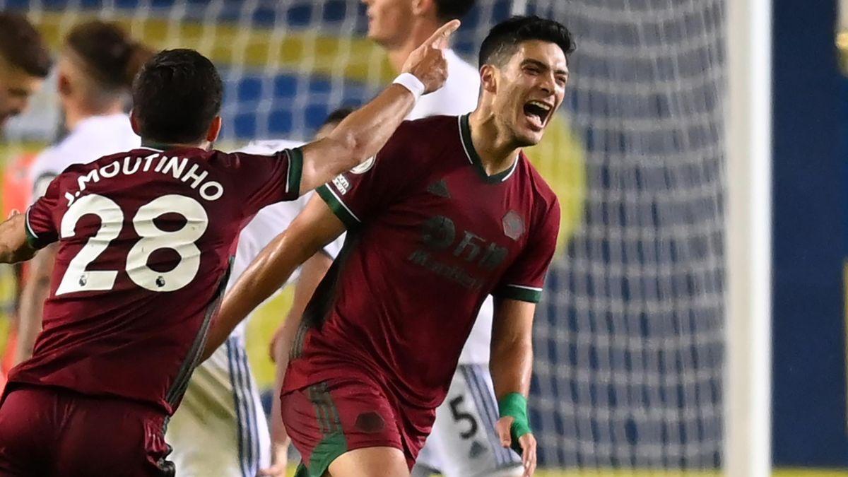 Raul Jimenez celebrates scoring for Wolves against Leeds