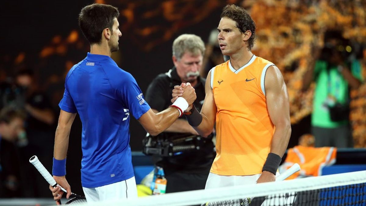 Novak Djokovic y Rafael Nadal, hanshake, Australian Open 2019