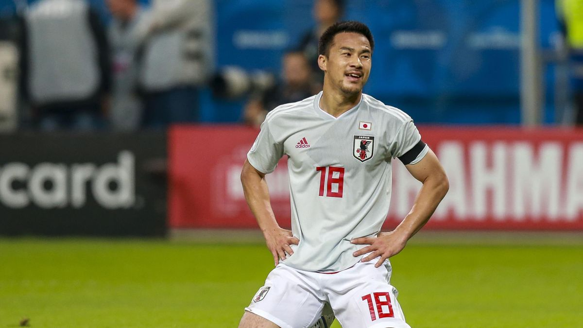 Shinji Okasaki of Japan reacts during the Copa America Brazil 2019 group C match between Uruguay and Japan at Arena do Gremio on June 20, 2019 in Porto Alegre, Brazil.