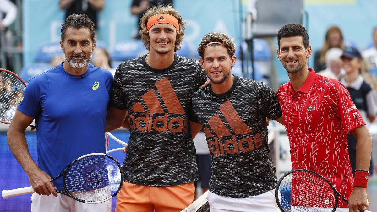 Nenad Zimonjić, Alexander Zverev, Dominic Thiem und Novak Djokovic (v.l.) bei der Adria Tour 2020