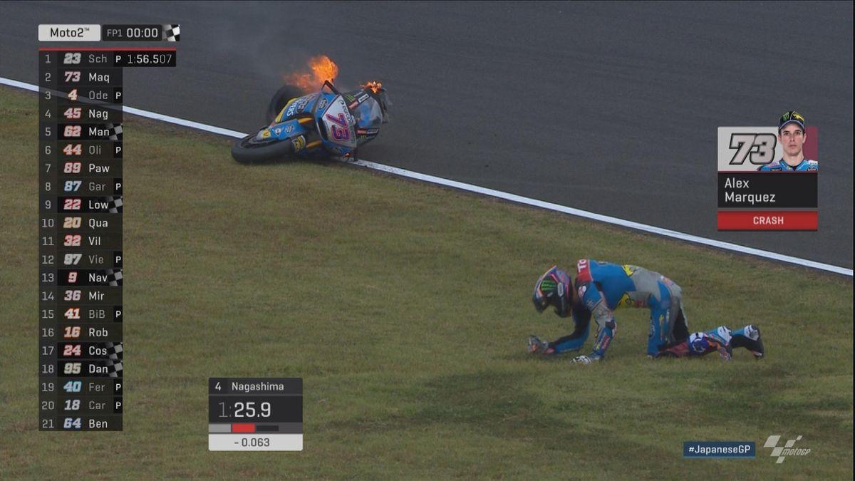 GP Japan - Moto 2 FP1 - Marquez crash + moto on fire