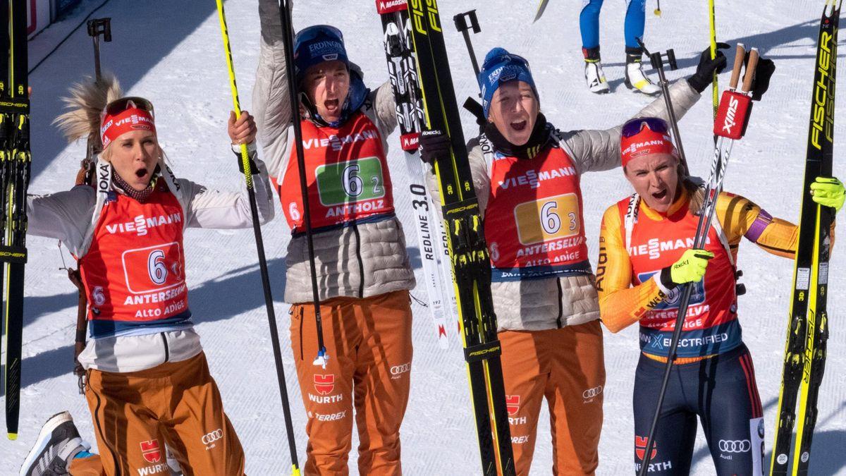 Das deutsche Biathlon-Quartett holte Silber in der 4 x 6km Staffel