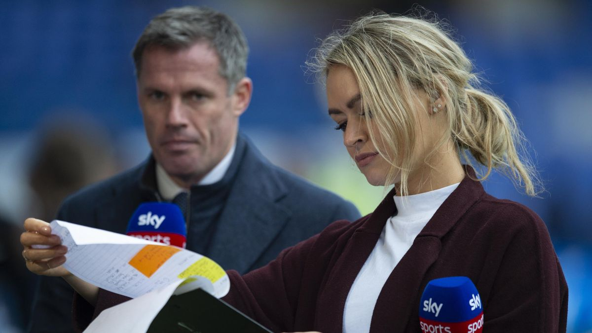 Sky TV presenters Jamie Carragher and Laura Woods before the Premier League match between Everton FC and AFC Bournemouth