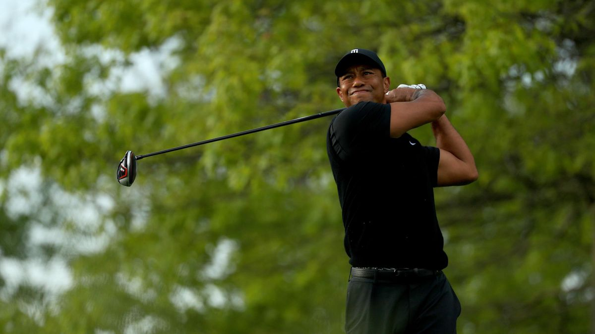 Tiger Woods of the United States plays his shot from the 18th tee during the second round of the 2019 PGA Championship at the Bethpage Black course on May 17, 2019 in Farmingdale, New York.