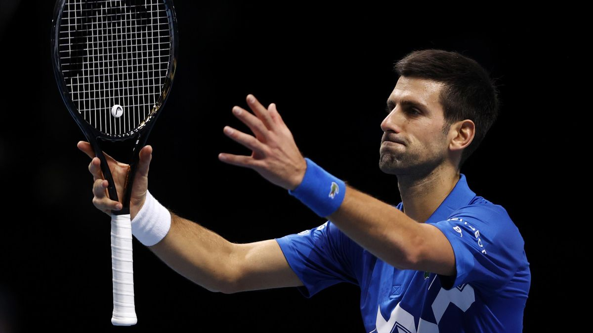 Novak Djokovic of Serbia celebrates after winning his singles match against Alexander Zverev