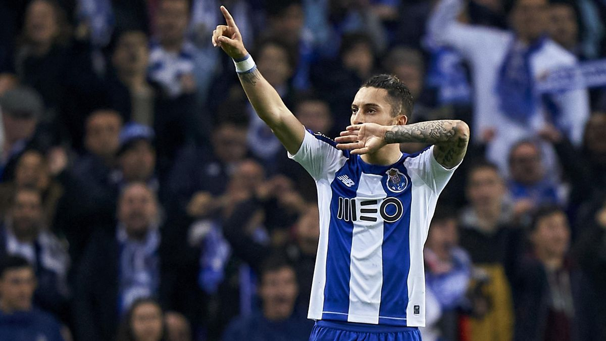 Alex Telles of FC Porto celebrates after scoring his team's second goal during the Liga Nos match between FC Porto and SL Benfica at Estadio do Dragao on February 08, 2020 in Porto, Portugal