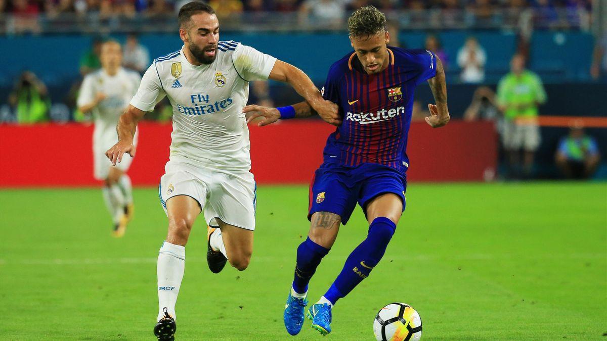 Carvajal y Neymar en un Barcelona-Real Madrid