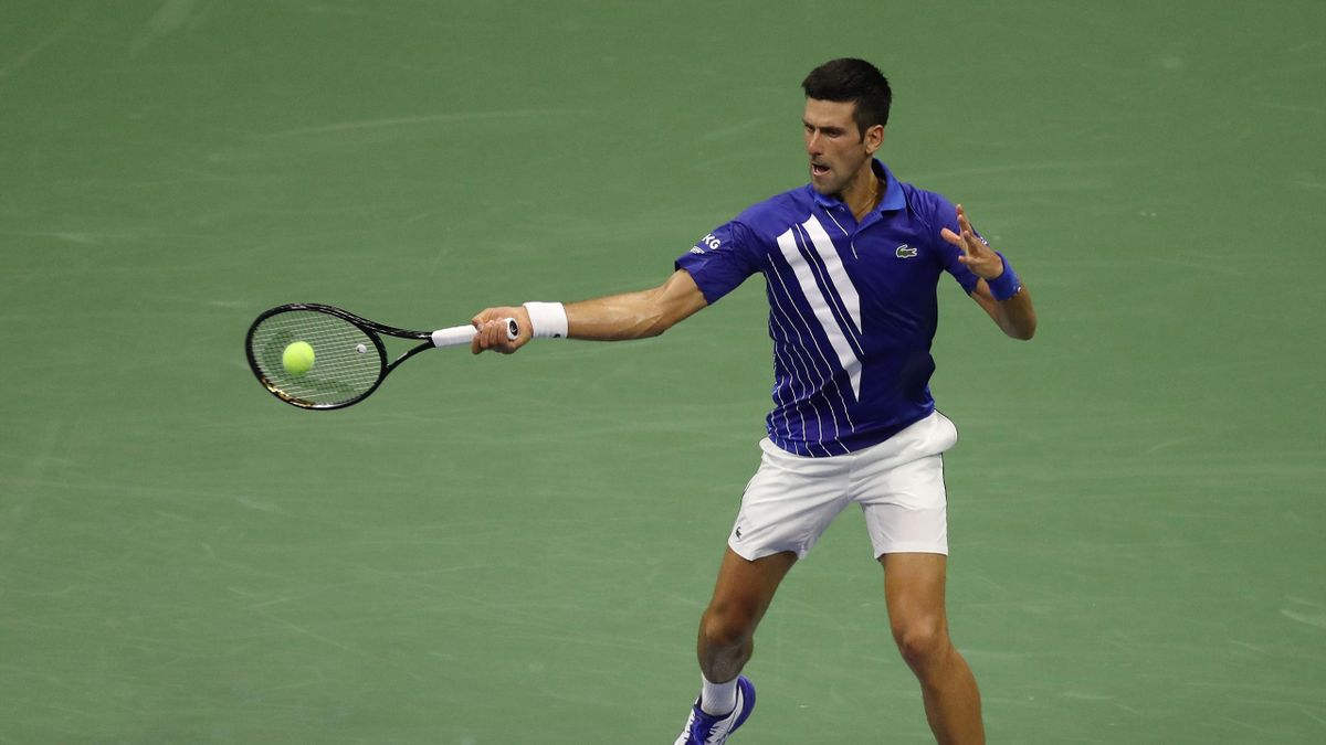 NEW YORK, NEW YORK - AUGUST 31: Novak Djokovic of Serbia returns a volley during his Men's Singles first round match against Damir Dzumhur of Bosnia and Herzegovina on Day One of the 2020 US Open at the USTA Billie Jean King National Tennis Center on Augu