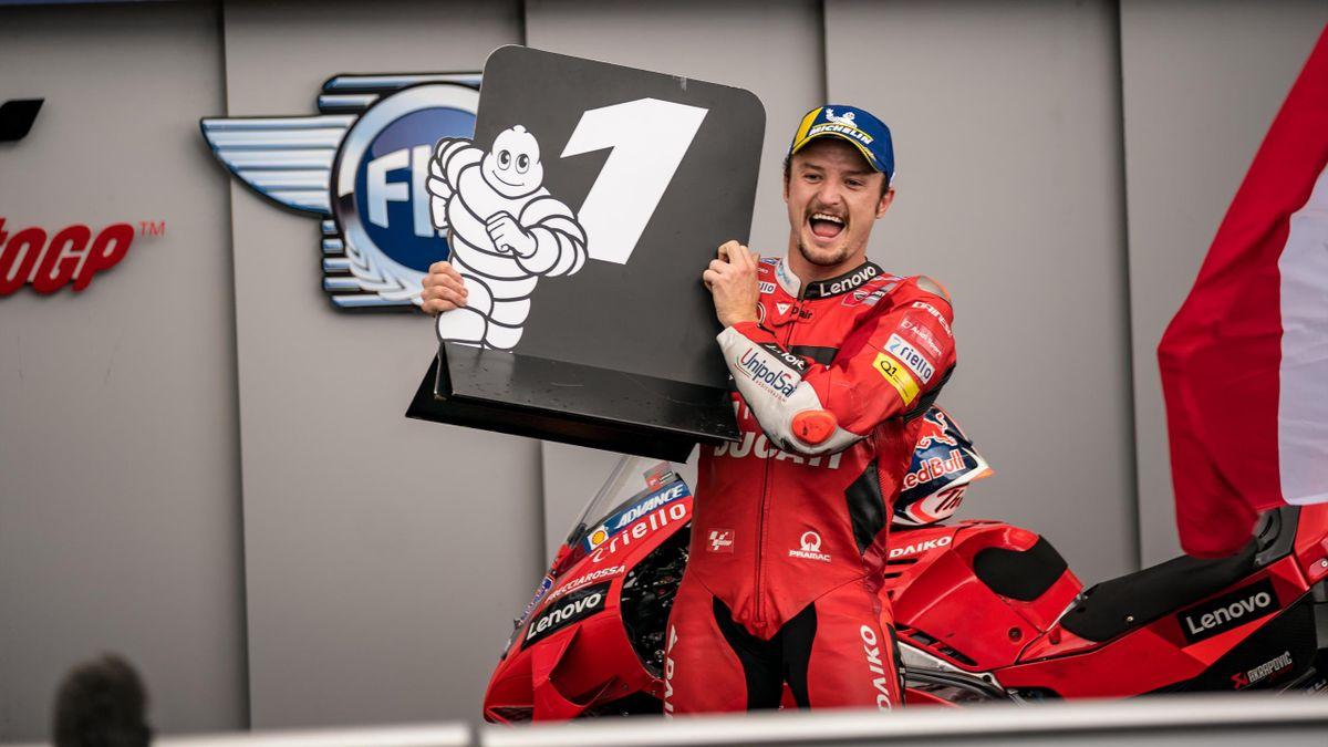Jack Miller festeggia il primo posto, Ducati, MotoGP, Getty Images