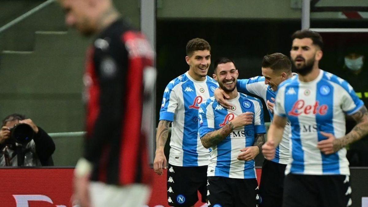 Napoli celebrate Politano's goal