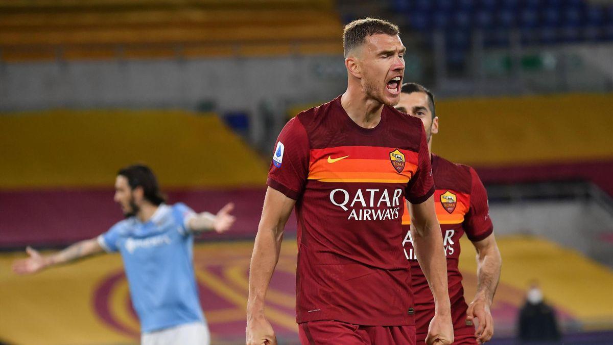 Edin Dzeko, Roma-Lazio, Serie A 2020/2021. Getty Images
