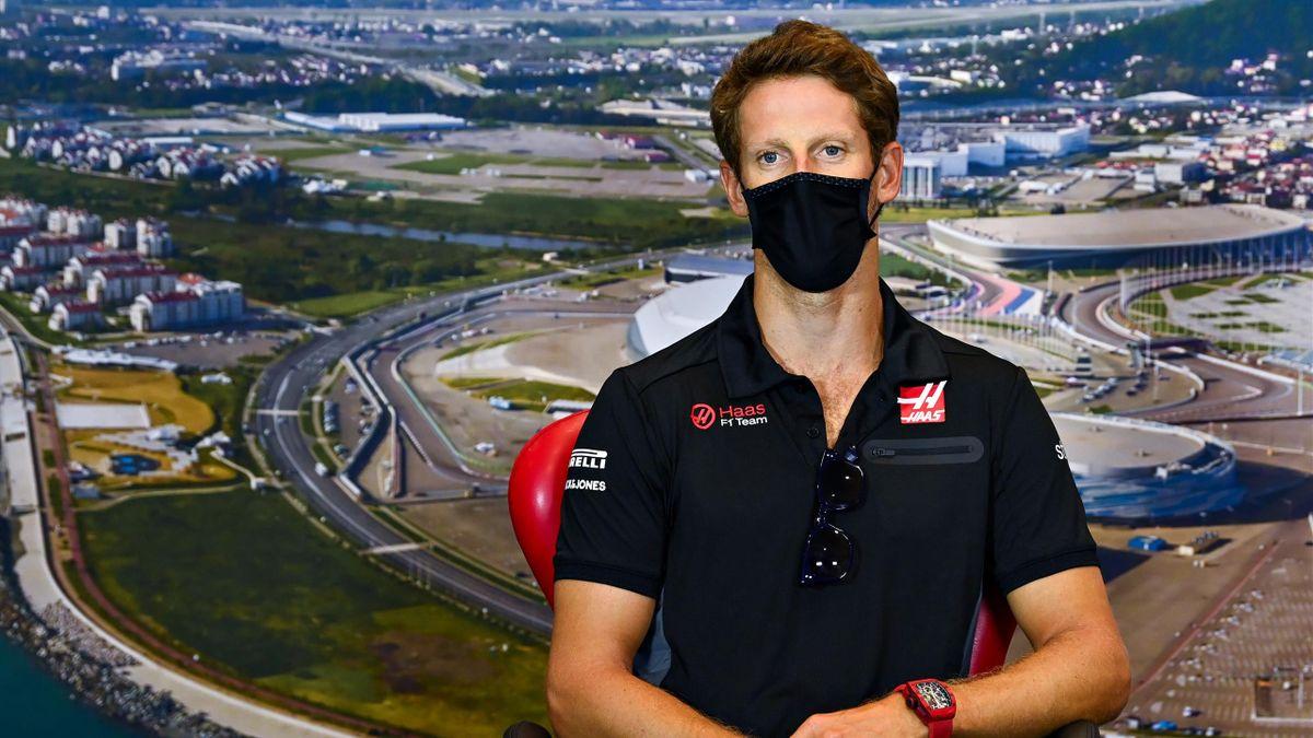 Romain Grosjean (Haas) en marge du Grand Prix de Russie, le 24 septembre 2020