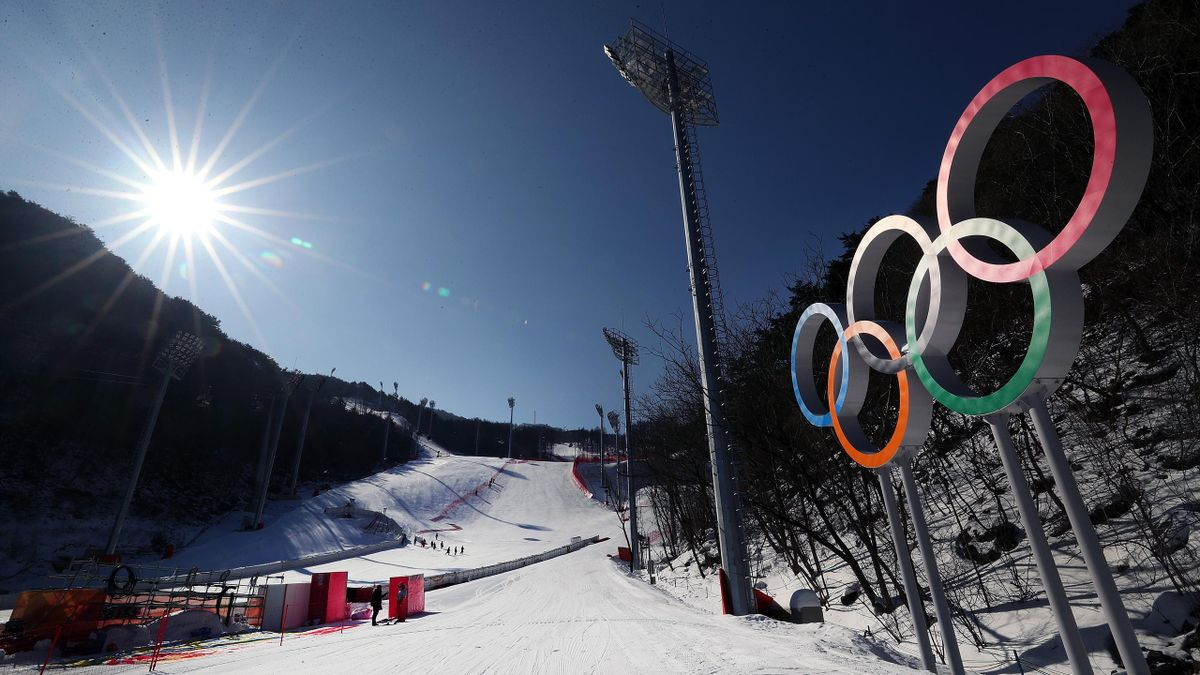 A general view of the Jeongseon Alpine Center during previews ahead of the PyeongChang 2018 Winter Olympic Games on February 4, 2018 in Pyeongchang-gun, South Korea