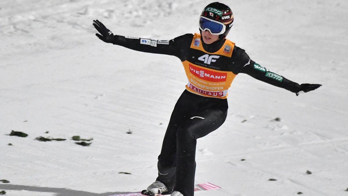 Japan's Ryoyu Kobayashi lands during the fourth stage of the Four-Hills Ski Jumping tournament (Vierschanzentournee), in Bischofshofen, Austria, on January 6, 2019.