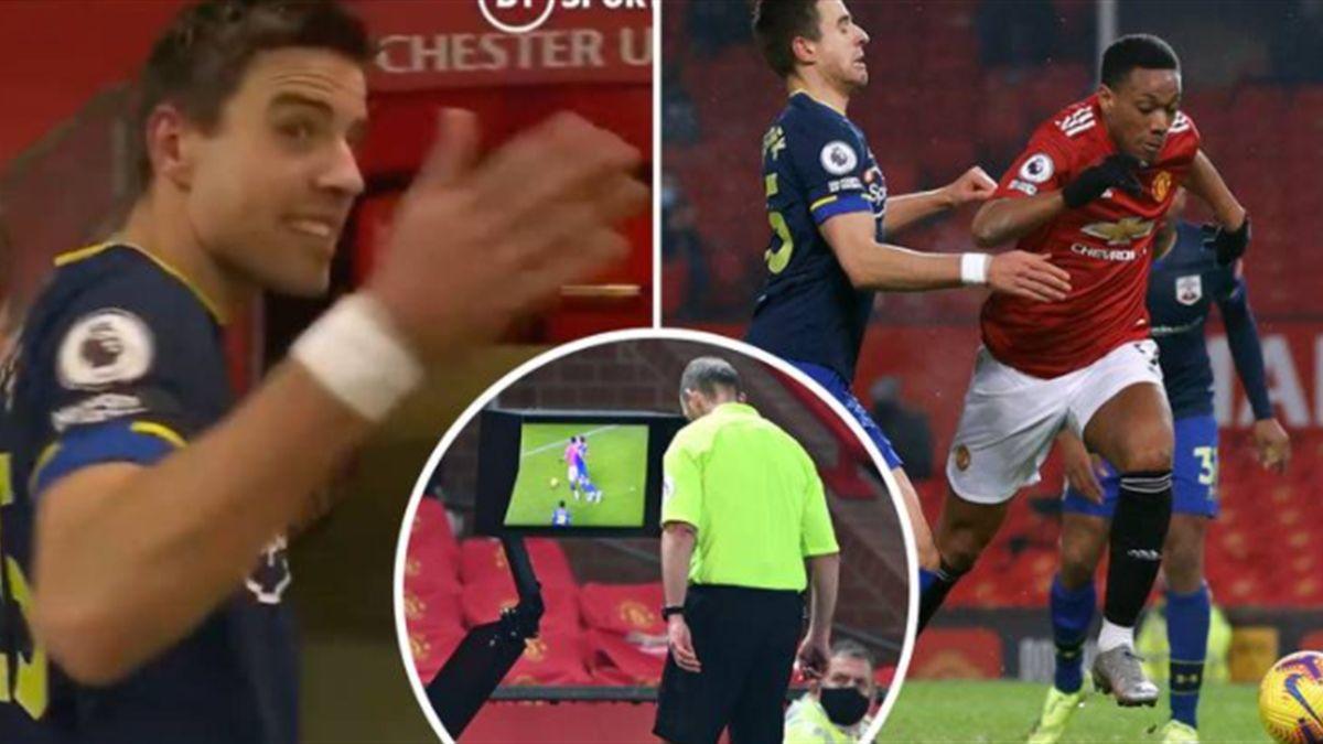 Bednarek nu pare să îl fi atins pe Martial, la faza penaltyului