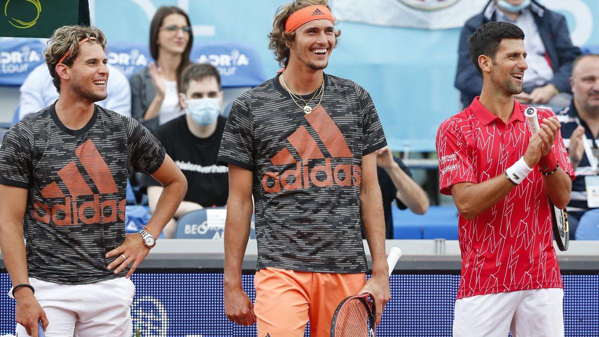 Dominic Thiem (li.), Alexander Zverev (Mi.) und Novak Djokovic