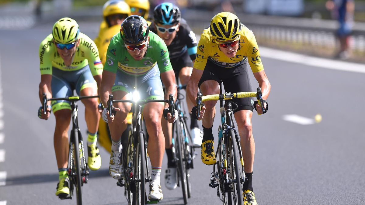 Cycling: 103th Tour de France 2016 / Stage 11 Christopher FROOME (GBR) Yellow Leader Jersey / Geraint THOMAS (GBR)/ Peter SAGAN (SVK) Green Sprint Jersey / Maciej BODNAR (POL)/ Carcassone - Montpellier (162,5km)/ TDF / (Photo by Tim de Waele/Corbis via Ge