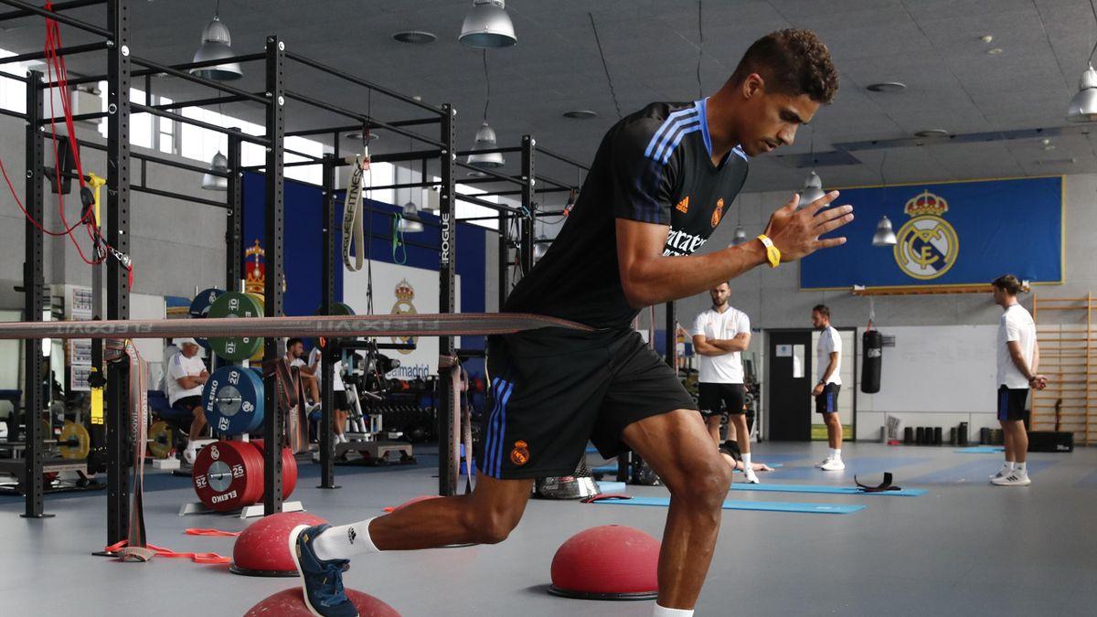 Raphael Varane works in Real Madrid training, Valdebebas, Madrid, July 24, 2021