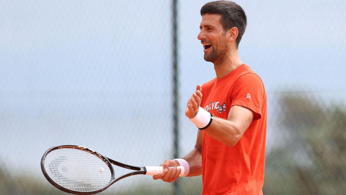 Novak Djokovic à l'entraînement à Monte Carlo - 11 avril 2021