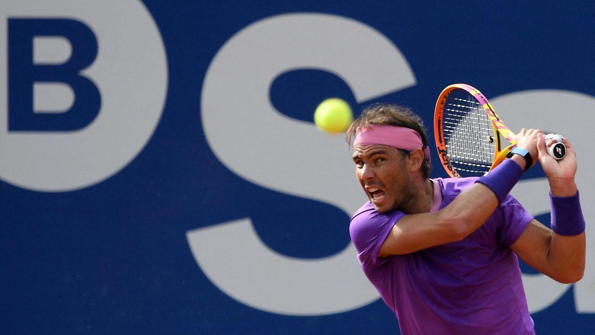 Rafael Nadal lors de son match face à Kei Nishikori à l'ATP 500 Barcelone