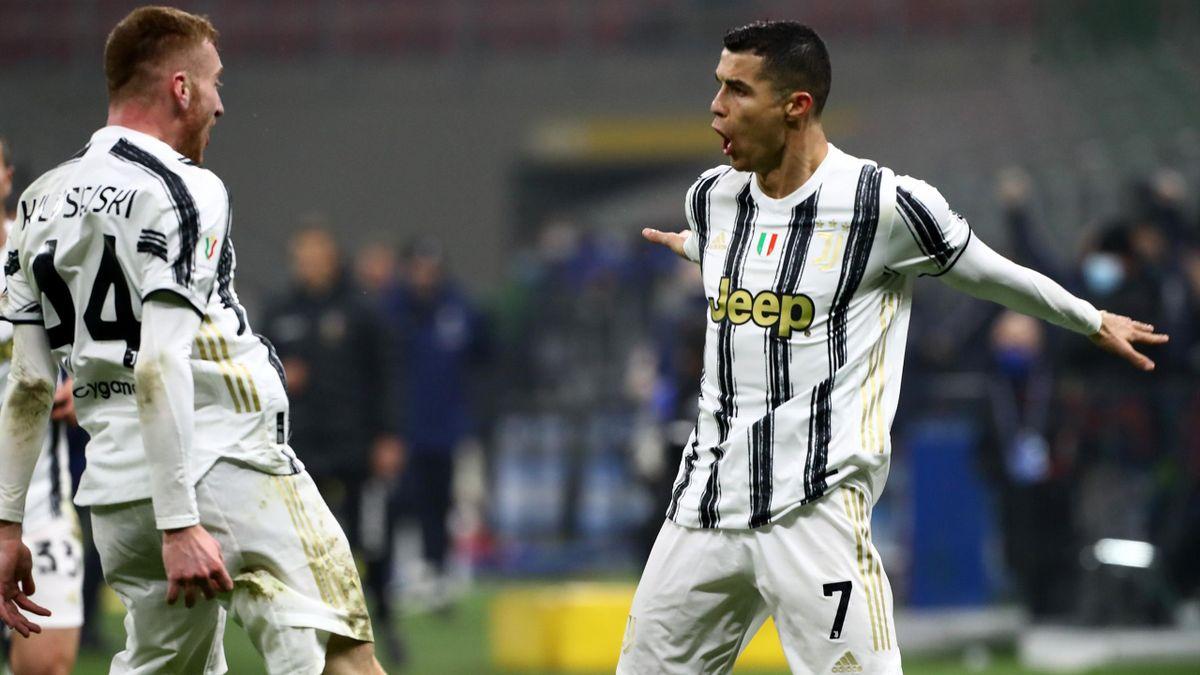 Cristiano Ronaldo, buteur lors de la demi-finale aller opposant l'Inter à la Juventus, le 2 février 2021 en Coupe d'Italie