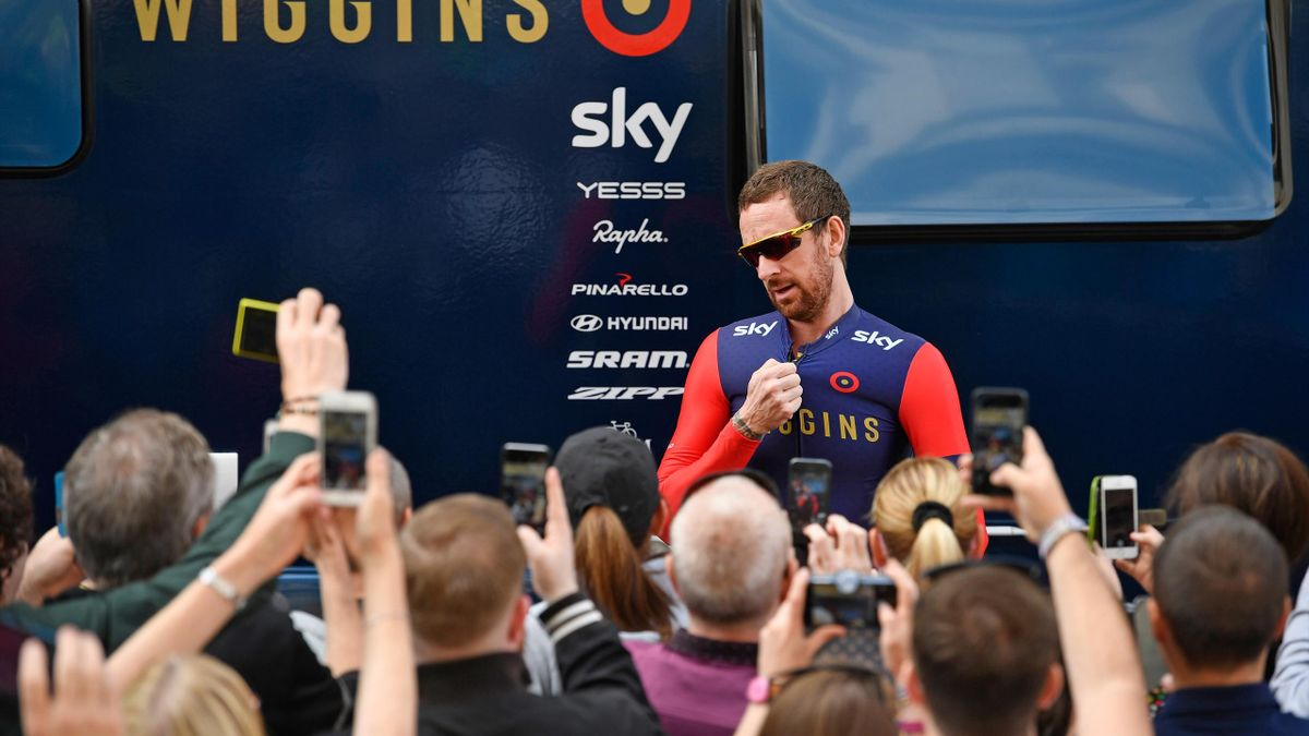 Cyclist Sir Bradley Wiggins, leaves his trailor prior to the start of stage 1 of the Tour of Britain