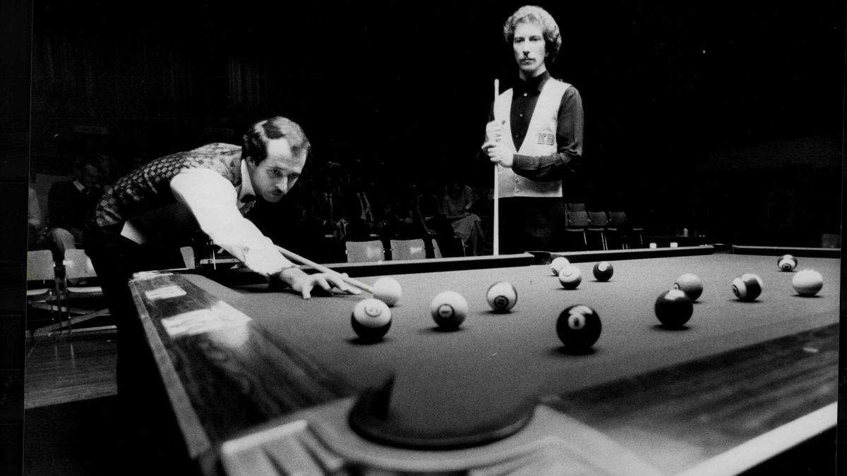 American pool great Jim Rempe (standing right) tried his luck at snooker in the 1980s.