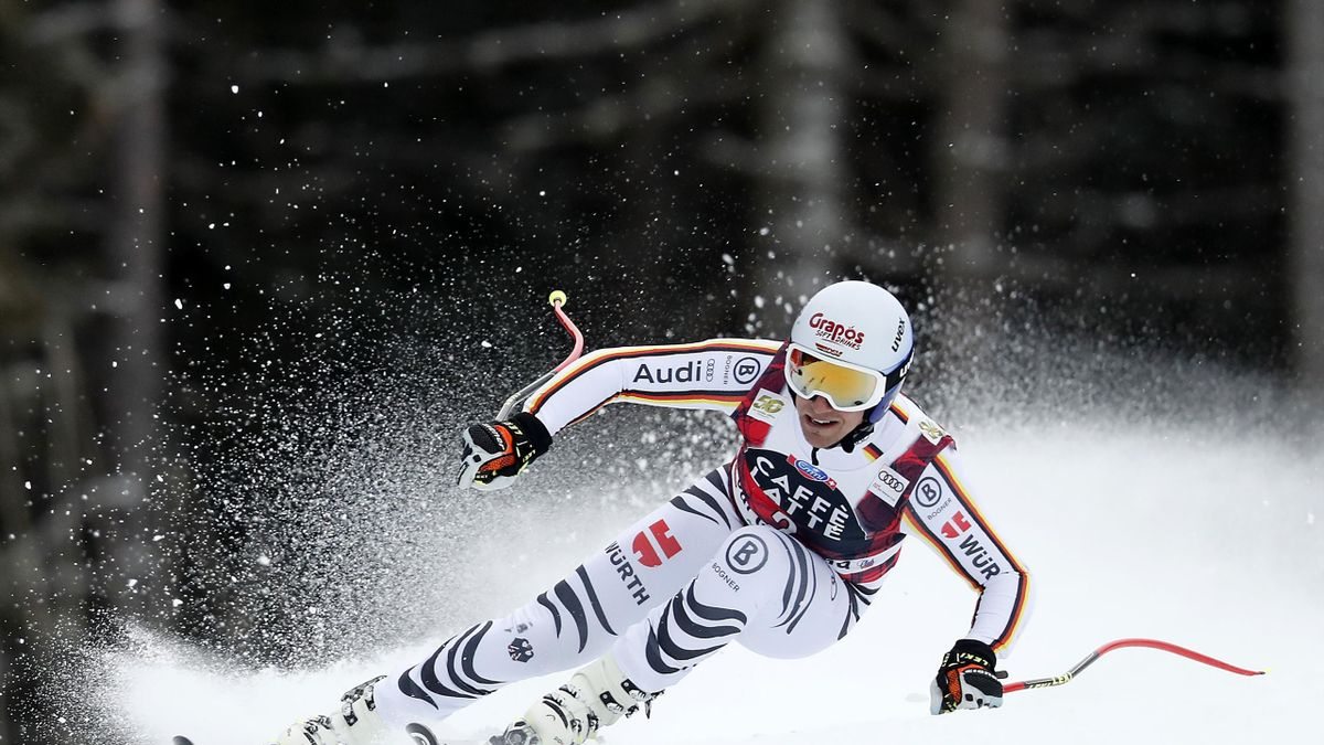 Josef Ferstl of Germany takes 1st place during the Audi FIS Alpine Ski World Cup Men's Super G on December 15, 2017 in Val Gardena, Italy.