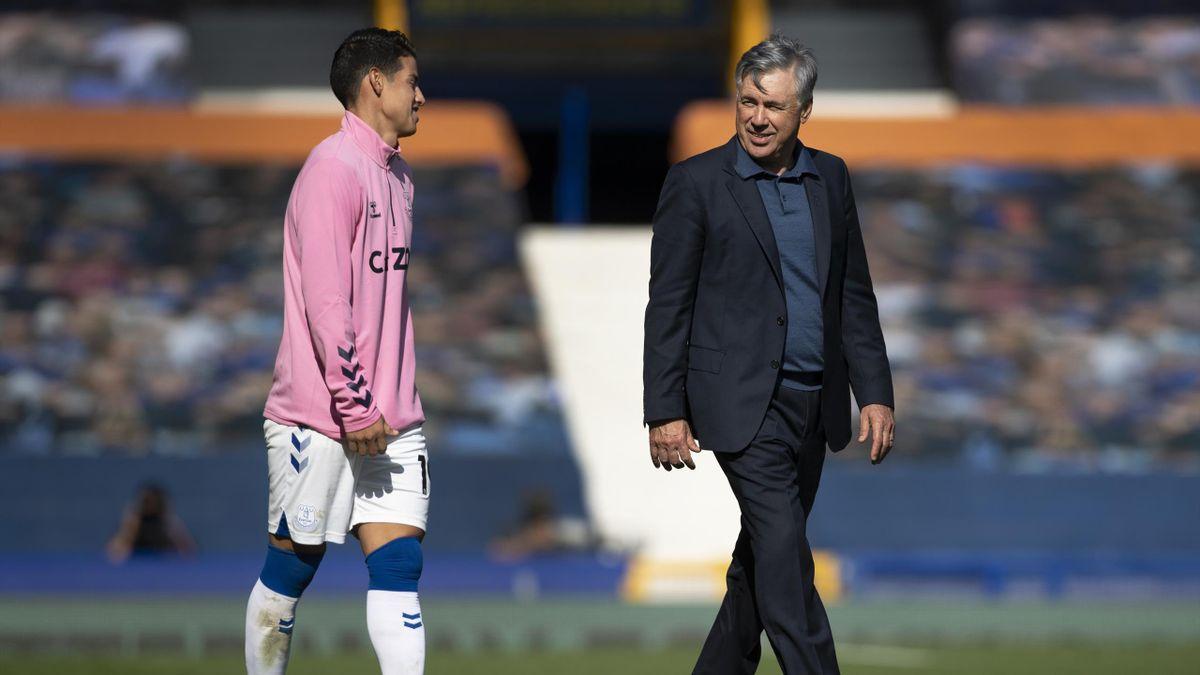 Carlo Ancelotti avec James Rodriguez à Everton, 2020