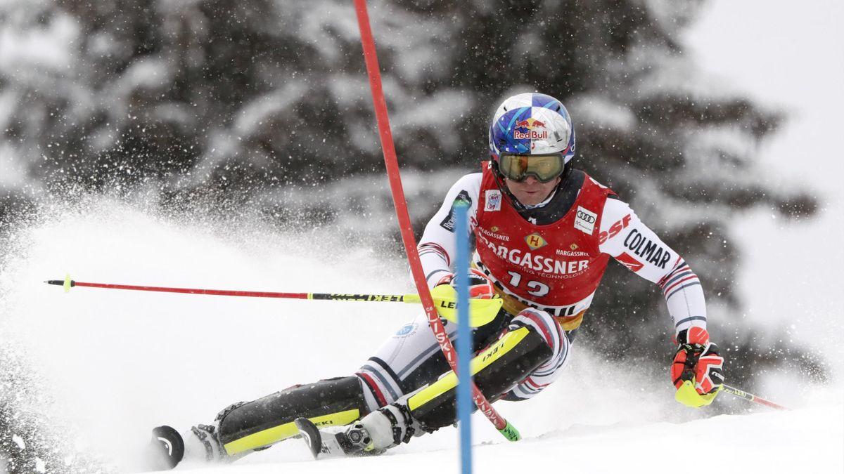 Alexis Pinturault, à l'occasion du slalom de Flachau le 17 janvier 2021
