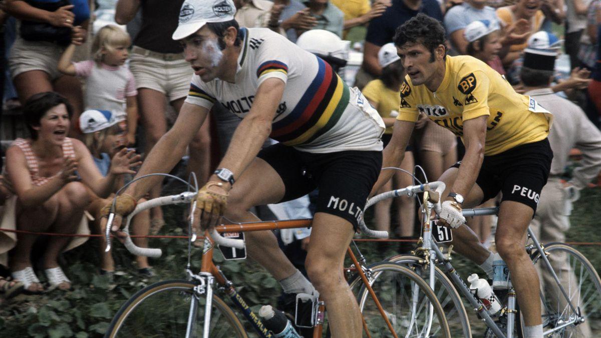 Eddy Merckx et Bernard Thévenet lors du Tour de France 1975