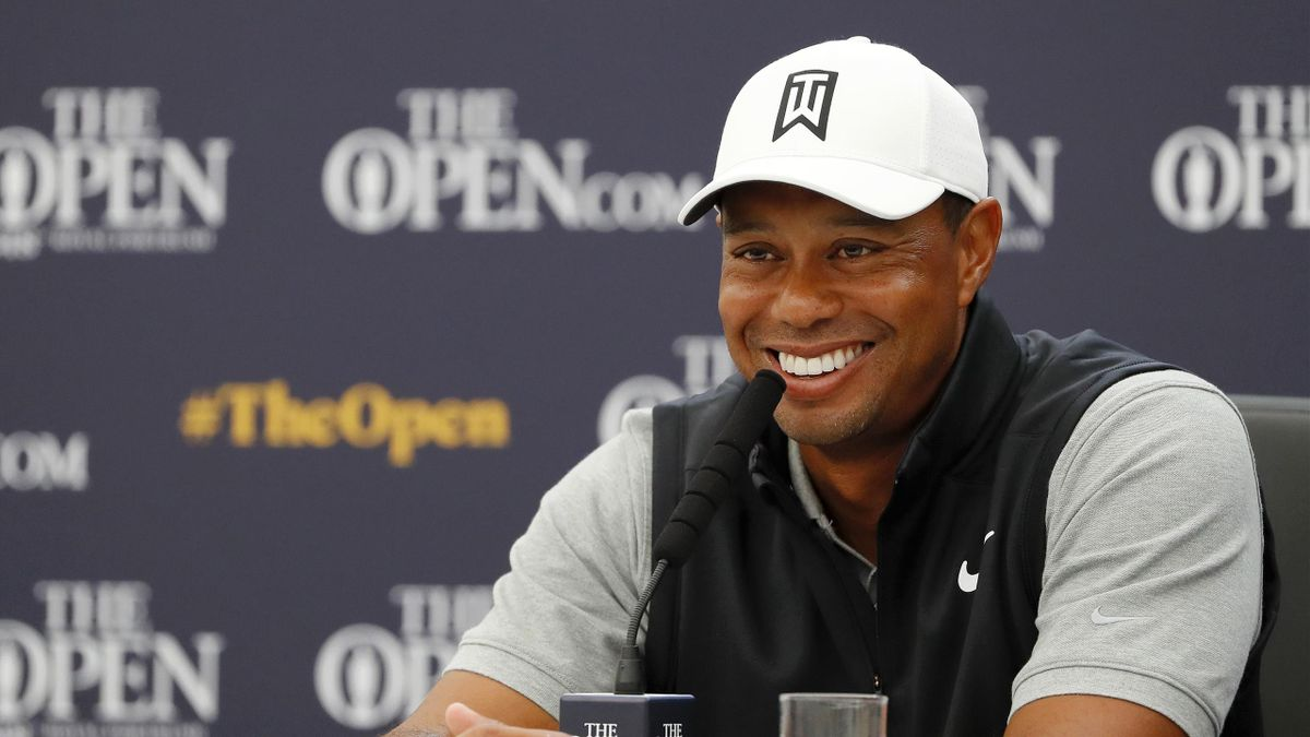 Tiger Woods of the United States speaks to the media during a press conference during a practice round prior to the 148th Open Championship held on the Dunluce Links at Royal Portrush Golf Club on July 16, 2019 in Portrush, United Kingdom