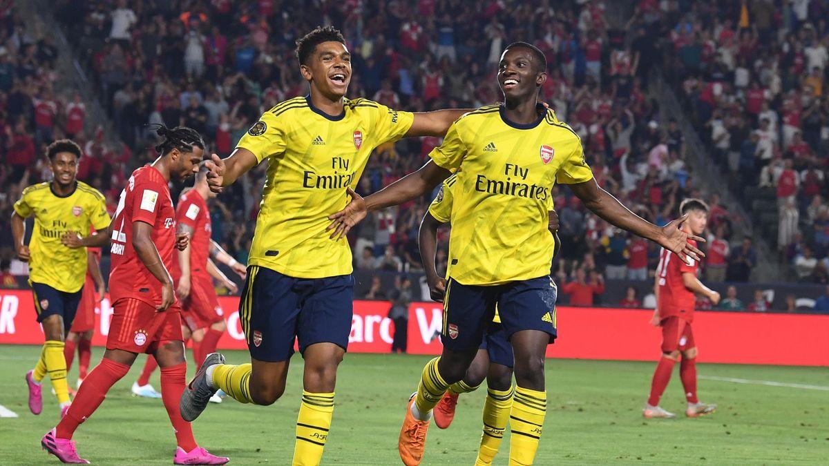 Tyreece John-Jules et Eddie Nketiah (Arsenal) en International Champions Cup face au Bayern Munich