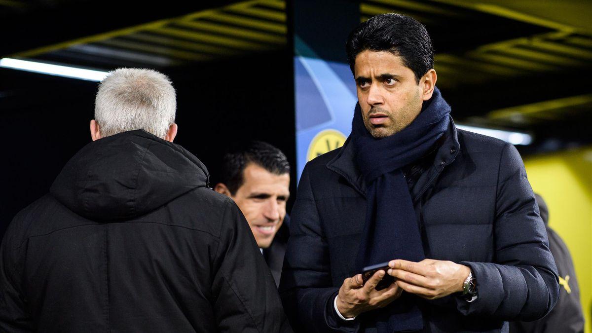 Nasser al-Khelaïfi et Leonardo lors d'un entraînement du PSG