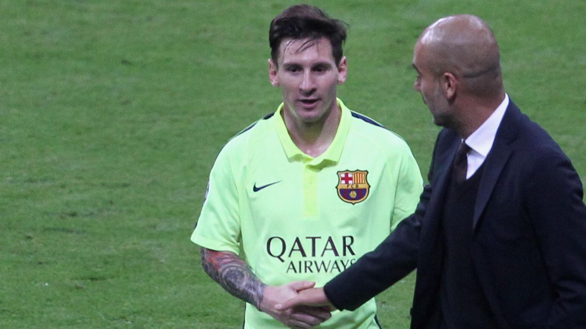 Lionel Messi (li.) und Pep Guardiola (re.)