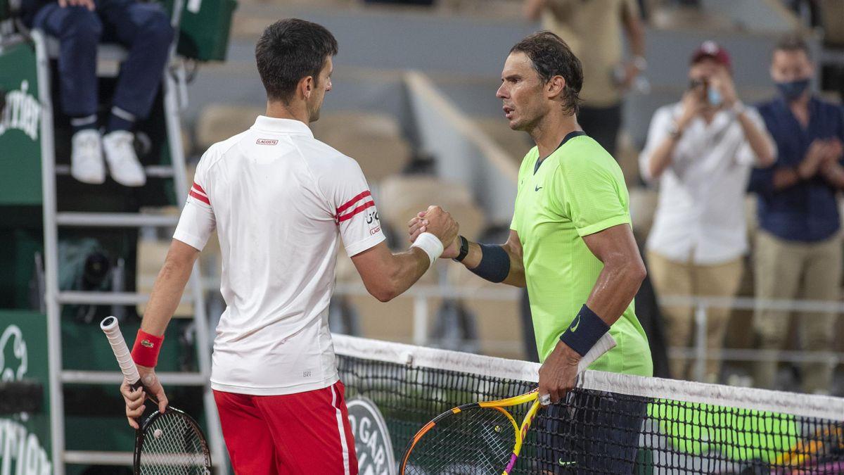 Novak Djokovic y Rafael Nadal, en Roland-Garros 2021