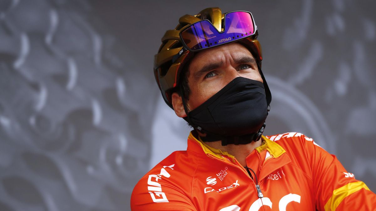 Greg Van Avermaet of Belgium and CCC Team / Team Presentation / Mask / Covid safety measures / during the 106th Liege - Bastogne - Liege 2020, Men Elite a 257km race from Liege to Liege / #LBL / #classiquesardennes / on October 04, 2020 in Liege, Belgium