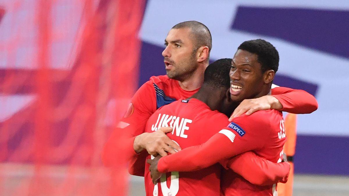 La joie des Lillois après leur victoire contre le Sparta Prague en Ligue Europa