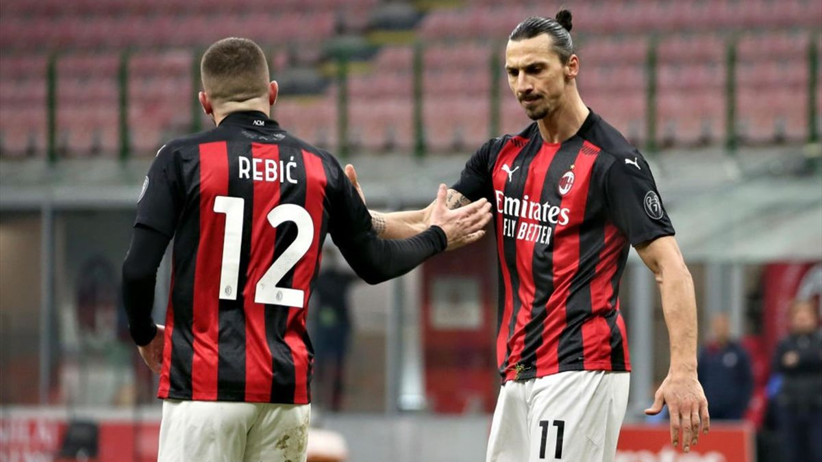 Ante Rebic e Zlatan Ibrahimovic (Milan - Serie A 2020-21)
