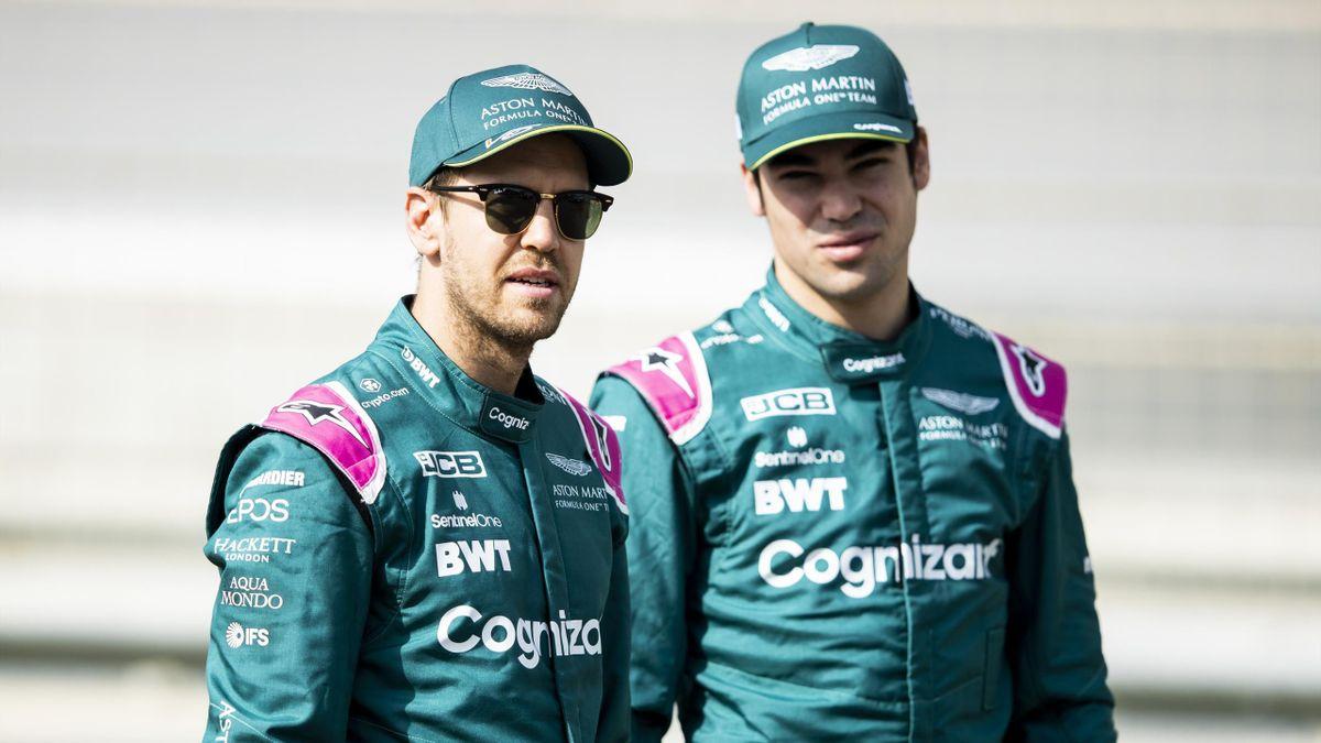 Die beiden Aston-Martin-Fahrer Sebastian Vettel (links) und Lance Stroll
