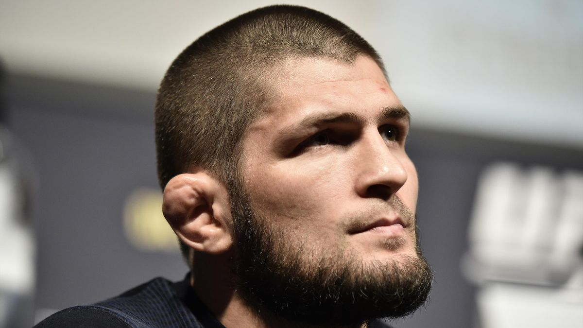 Khabib Nurmagomedov interacts with media during the UFC 249 press conference at T-Mobile Arena on March 06, 2020 in Las Vegas, Nevada